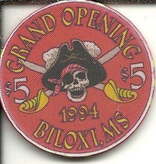 - $5 treasure bay 1994 pirate casino biloxi,mississippi casino chip obsolete riverboat?