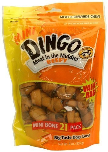 Dingo Meat in the middle Beefy Rawhide Chew - Mini Bones (21 Pack) by Spectrum Brands, Inc. (English Manual): Amazon.es: Productos para mascotas