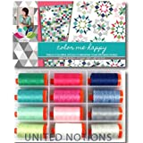 Aurifil Thread Set COLOR ME HAPPY By V and Co. 50wt Cotton 12 Large (1422 yard) Spools