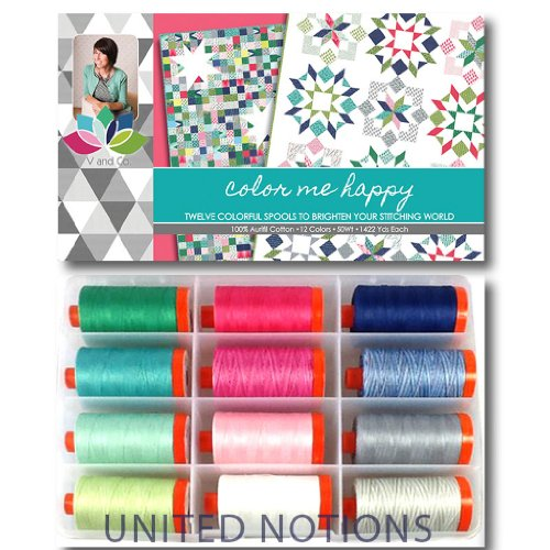 Aurifil Thread Set COLOR ME HAPPY By V and Co. 50wt Cotton 12 Large (1422 yard) Spools by Aurifil
