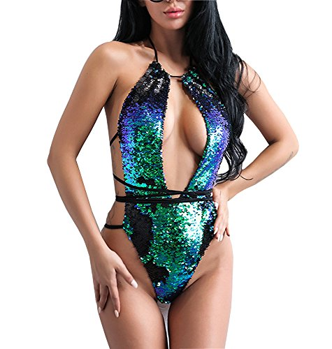 Khaleesi Women's O Neck Sleeveless Sequin Summer Bikini Bodysuit Swimwear Green M