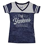 NY Yankees Womens Athletic V-Neck T-Shirt (Vintage Look)