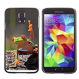 TECHCASE**Cubierta de la caja de protección la piel dura para el ** Samsung Galaxy S5 SM-G900 ** You Cool Frog Green Jungle Creature