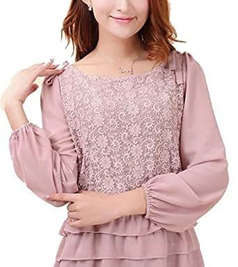 Women's Chiffon Shirt Sleeves Lace Shirt Size L Pink