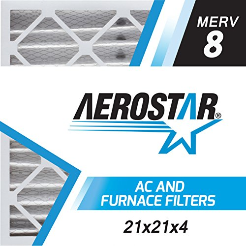 Aerostar 21x21x4 MERV 8, Pleated Air Filter, 21 x 21 x 4, Box of 6, Made in the USA