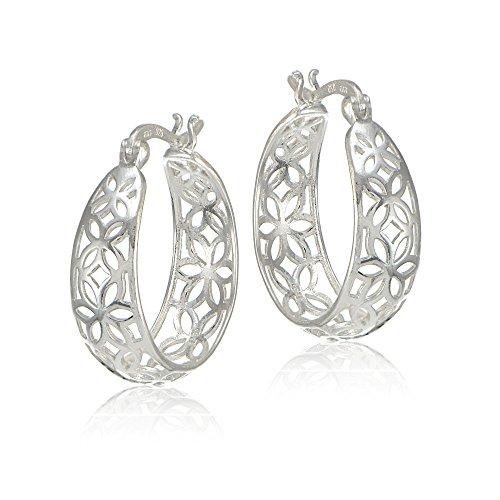 Sterling Silver Filigree Floral Diamond Earrings