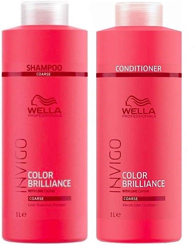 Wella Professionals Brilliance Champú 1000 ml y acondicionador 1000 ml para cabello áspero/apelmazado