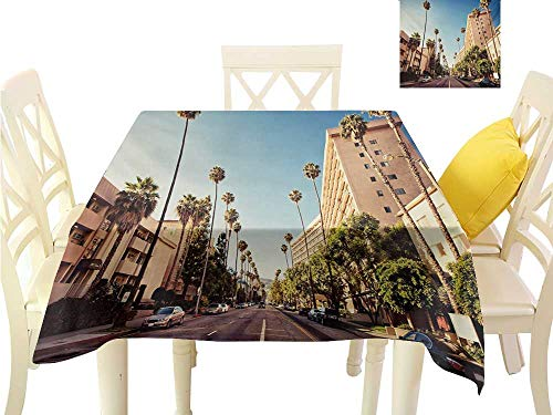 (familytaste Tablecloth Urban,A Street in Beverly Hills California Palm Trees Houses Famous City Photo,Pale Blue Peach Green Great for Buffet Table W 50