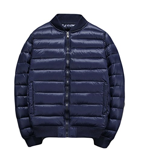 GRMO Men's Solid Zip-up Quilted Padding Down Jackets Bomber Puffer Coats Navy blue