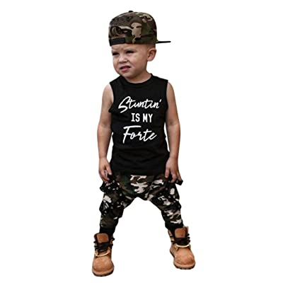 37fb19605 Leedford 2Pcs/Set Toddler Baby Boys Sleeveless Letter T-Shirt Tops Vest+ Camouflage