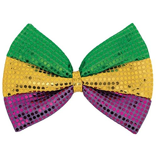 Venetian Masquerade Mardi Gras Sparkling Sequin Bow Tie Wearable, Fabric, 8