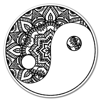 Yin yang art black vinyl sticker car phone helmet select size