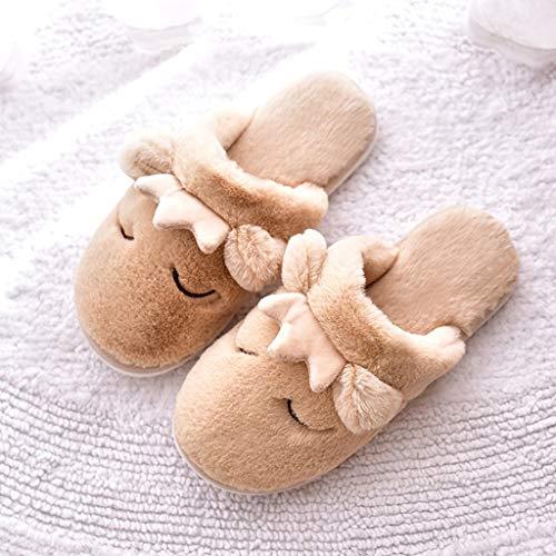 größe Brown Schuhe Innenwarme AMINSHAP Plüsch Pink 39 Nette Hauptdicker 40EU Unterseite Winter Farbe Baumwollpantoffeln Weiblicher Karikatur Cw4q7Z