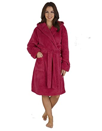 Slenderella Red Waffle Fleece Hooded Dressing Gown HC04328 at Amazon ...