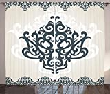 Arabesque Curtains by Ambesonne, Middle Eastern Islamic Motif with Arabic Effects Filigree Swirled Artsy Print , Living Room Bedroom Window Drapes 2 Panel Set, 108W X 108L Inches, Pearl Grey