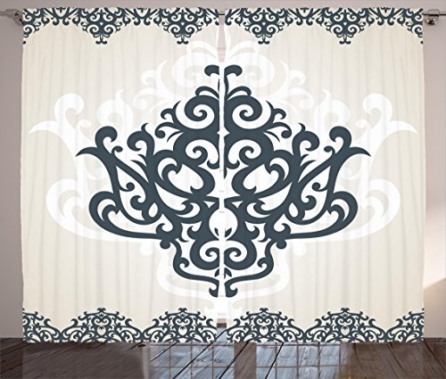 Arabesque Curtains by Ambesonne, Middle Eastern Islamic Motif with Arabic Effects Filigree Swirled Artsy Print , Living Room Bedroom Window Drapes 2 Panel Set, 108W X 108L Inches, Pearl Grey by Ambesonne