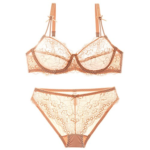 MY AGLAIA Sheer Plus Size Sexy Lace Lingerie Set Bras and Panties with Bow Tie detail