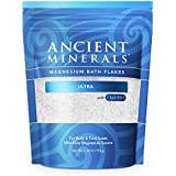 Ancient Minerals Magnesium Bath Flakes ULTRA with OptiMSM - Resealable Magnesium Supplement Bag of Zechstein Chloride with proven better Absorption than Epsom Bath Salt (1.65 lb)