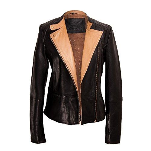 giacca Primaverile In Pelle Cuoio Donna Zerimar Giacca beige Nero wx1qfYHX5