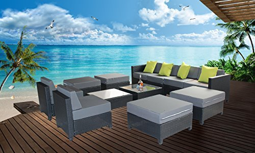 MCombo 12 Piece Luxury Black Wicker Patio Sectional Indoor Outdoor Sofa Furniture Set with Grey Cushion by MCombo