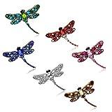 Crystal Rhinestone Dragonfly Brooch Pin Jewelry Birthday Gifts (Dragonfly Brooch -6pcs)