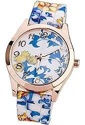 Leegoal Women Silicone Printed Flower Causal Quartz Wrist Watches Blue