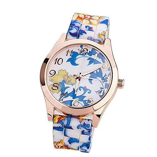 Leegoal Silicone Printed Flower Watches