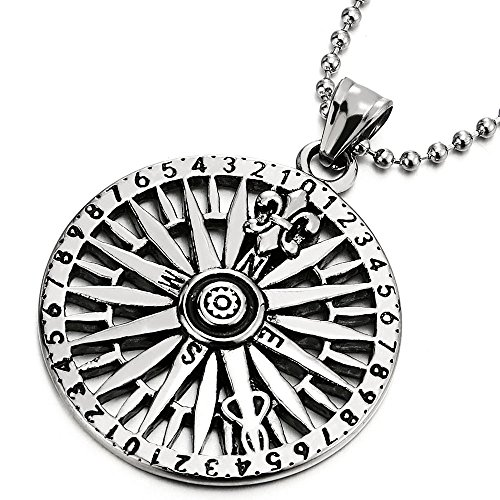 COOLSTEELANDBEYOND Mens Circle Compass Pendant Necklace with Fleur De Lis, Stainless Steel with 30 inches Ball Chain ()