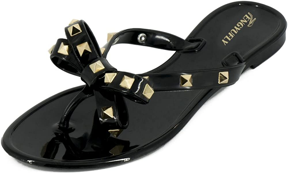 TENGYUFLY Womens Rivets Bowtie Flip Flops Jelly Thong Sandal Rubber Flat Summer Beach Rain Shoes