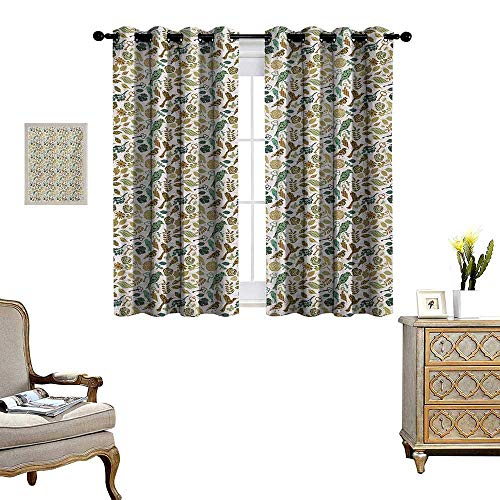 WinfreyDecor Leaves Room Darkening Wide Curtains Birds Dragonflies and Keys in Foliage Themed Image on Bullseye Heart Background Customized Curtains W55 x L39 Multicolor (Bullseye Light Plum)