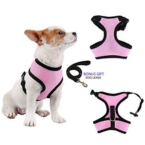 Pet Club No Pull Rabbit/Cat Harness and Leash Set for Walking, Padded No Tugging Dog Vest Harnesses for Puppy Small Dogs/Cats, Cat Dog Training Collar Pink,XS,S (XS - Neck 8.5
