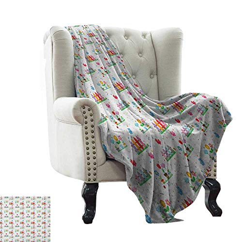 LsWOW Baby Blanket Yarn Floral,Bedding Plants Garden Fences Cottage Yard Flowers in Pots Childish Beetles Pattern, Multicolor Super Soft Faux Fur Plush Decorative Blanket 50