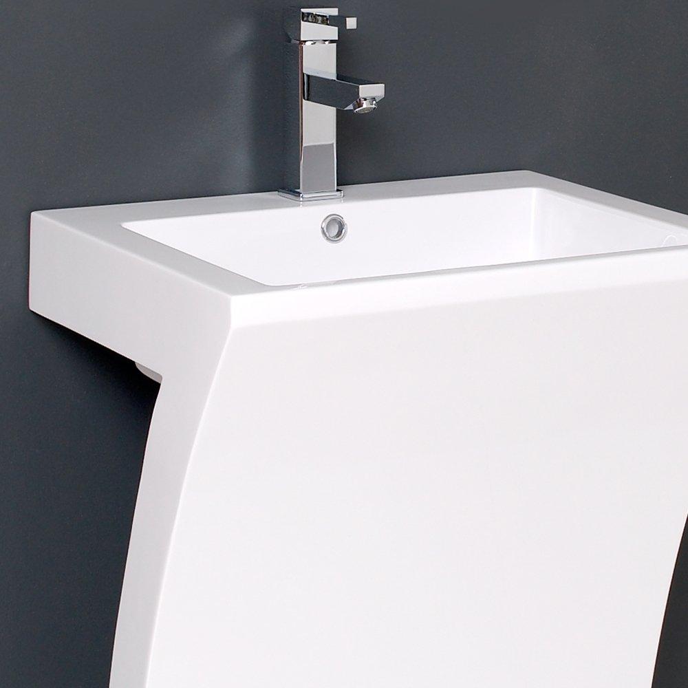 Fresca Bath FVN5024WH Quadro Pedestal Vanity Sink with Medicine ...