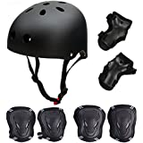 Skateboard / Skate Protection Pads Set with Helmet--SymbolLife Helmet with 6pcs Elbow Knee Wrist Pads for Kids Youths BMX/Cycling/Rollerblading for Head M (52-57cm) Black