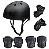 Skateboard / Skate Protection Set with Helmet–SymbolLife Helmet with 6pcs Elbow Knee Wrist Pads for Kids BMX/ Skateboard / Scooter, For Head M (58-60cm) Black Review