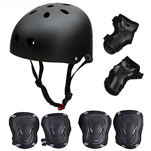 Skateboard / Skate Protection Set with Helmet--SymbolLife Helmet with 6pcs Elbow Knee Wrist Pads for Kids BMX/ Skateboard / Scooter, For Head M (58-60cm) Black