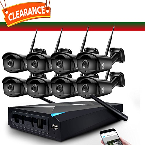 Price comparison product image Security Camera System,  JOOAN 1.3MP 8 x 960P IP Cameras 8CH NVR WiFi Wireless Security CCTV Surveillance Systems Plug and Play Indoor / Outdoor - 8 Cameras +1 NVRNo Hard Drive
