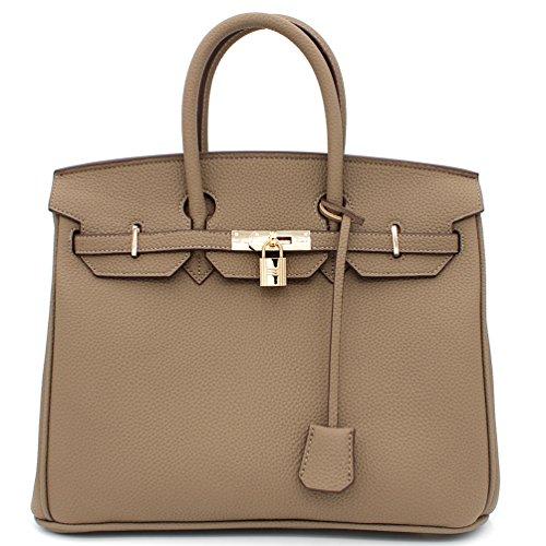 (Designer Inspired Fashion Satchel Top-Handle Handbag With Padlock (Taupe))