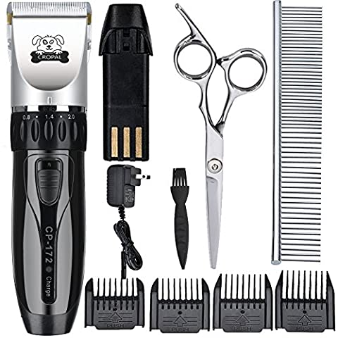 Cropal Pet Grooming Clippers with High Capacity Li-Battery, Quiet Rechargeable Cordless Dog and Cat grooming clippers, Dogs Cats Hair Trimmer (Pet Mini Trimmer)