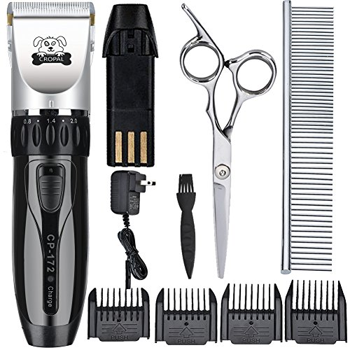 Cropal Pet Grooming Clippers with High Capacity Li-Battery, Quiet Rechargeable Cordless Dog and Cat grooming clippers, Dogs Cats Hair Trimmer (silver/black)
