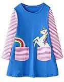 Fiream Girls Cotton Longsleeve Casual Dresses Applique Cartoon Rainbow Unicorn(SY020,5-6Y)