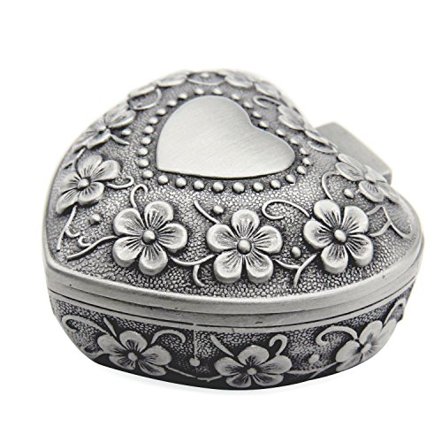 (AVESON Classic Vintage Antique Heart Shape Jewelry Box Ring Small Trinket Storage Organizer Chest Christmas Gift, Silver)