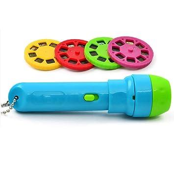 KOBWA Kinder Projektor Taschenlampe Kindertaschenlampe Projektionslampe mit 4 M/ärchen 32 Folien Kleine Projektor Taschenlampe f/ür Kinder