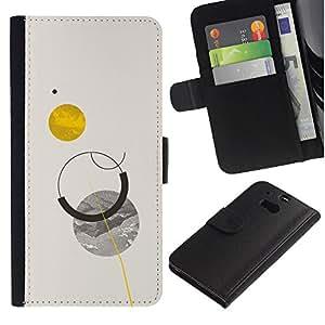 UPPERHAND ( No Para HTC ONE Mini 2) Imagen de Estilo Cuero billetera Ranura Tarjeta Funda Cover Case Voltear TPU Carcasas Protectora Para HTC One M8 - planetas cielo luna sol minimalista