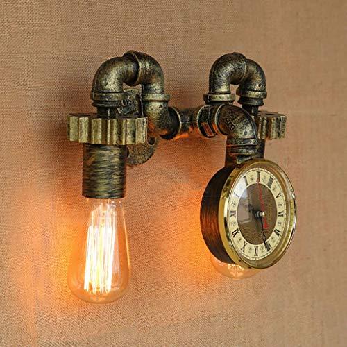 YANG Loft Lámpara de Pared Vintage Relojes de Pared de Bronce Planchas Tubería de Agua de Doble Cabezal Paredes...