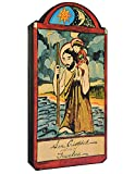 Modern Artisans San Cristobal (St Christopher) Patron Saint of Travelers Handmade Retablo Plaque, 3.5 x 7.25 Inches