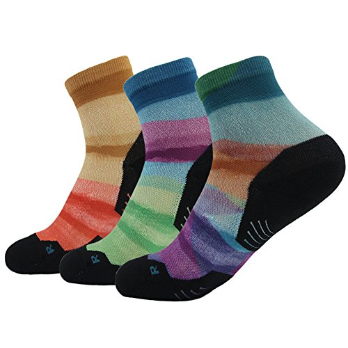(HUSO Mens Stylish 3D Print Comfortable Light Hiker Quarter Back to School Running Socks 3 pairs (Multicolor,L/XL))