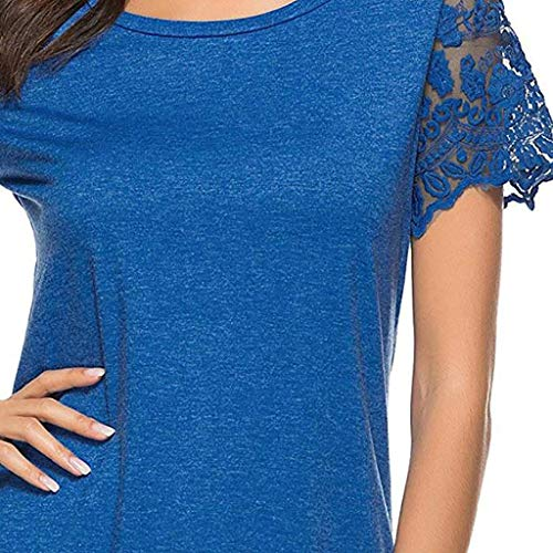 Pervobs Women's Summer Casual Lace Short Sleeve Hollow Out Round Neck Loose Fitting T-Shirt Blouse Tops Tunic(US: 12, Navy) by Pervobs T-Shirt (Image #4)