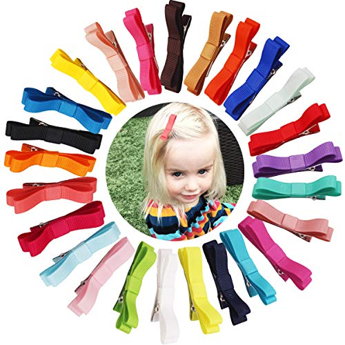 50PCS 2Inch Grosgrain Ribbon Tiny Hair Bow Alligator Hair Clips Fully Lined Pigtail Hair Bows for Baby Girls Toddlers Kids in Pairs