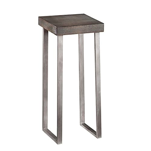 Southern Enterprises Nolan Pedestal Accent Table, Square, Burnt Oak Silver